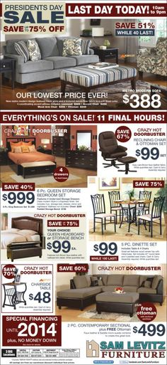Sam Levitz 2/27/12 Home Furnishing Stores, Home Furnishings, Chair And Ottoman Set, Local Ads, Furniture Ads, Large Sofa, Modern Sofa, Sectional Sofas, Advertising