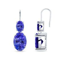 Angara Tanzanite Dangle Earrings in White Gold ttVaV
