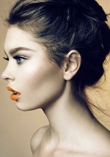 these cheeks! The natural but defined brow, hard edge on eye contour and orange lips.