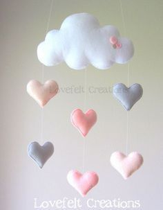 Baby mobile - heart mobile - cloud mobile - pink and gray mobile phone- Babymobile – Herz Mobile – Cloud-Handy – Rosa und grau Handy Baby mobile mobile heart cloud mobile by lovefeltmobiles on Etsy - Cloud Mobile, Mobile Mobile, Bird Mobile, Mobile Kids, Cool Baby, Felt Crafts, Diy And Crafts, New Baby Crafts, Fabric Samples