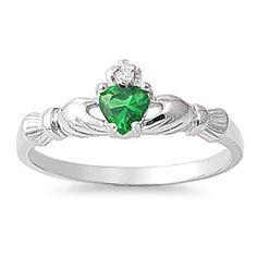 Sterling Silver Classic Design Emerald Claddagh Ring Sz 3-10