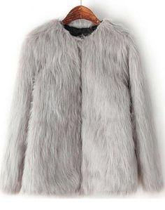 Grey Long Sleeve Crop Faux Fur Coat   www.ustrendy.com   #USTrendy