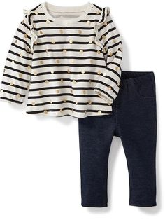 2-Piece Ruffle-Trim Tee and Pull-On Jeggings Set for Baby