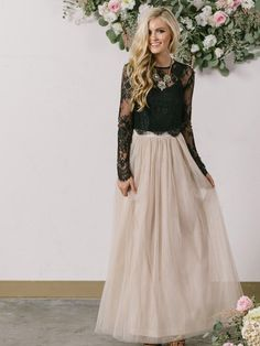 c74d323c34 New Style A-line Scoop Neck Tulle Ankle-length Appliques Lace Long Sleeve  Two Piece Prom Dresses