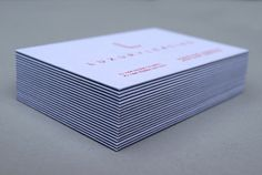 Luxury Leasing business cards. Duplexed G.F. Smith paper with red foil both sides. Designed by by Concrete #logo #branding #identity #letterpress #businesscards