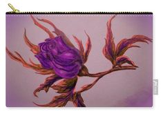 Rose Carry-all Pouch featuring the painting Decorative Wild Rose by Faye Anastasopoulou