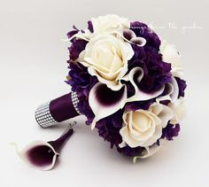 Bridal Bouquet Real Touch Picasso Callas Ivory Roses Purple Hydrangea Real Touch Rose Grooms Boutonniere Purple Plum White Wedding Bouquet Love this!