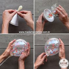 DIY tutorial: How to make confetti filled balloons for your next party! Unicorn Birthday Parties, Diy Birthday, Unicorn Party, Birthday Gifts, Diy Party Decorations, Balloon Decorations, Birthday Decorations, Diy Decoration, How To Make Confetti