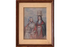 Early 19th Century Continental Watercolor of Two Milkmaids in Period Frame.