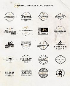 20 Minimal Vintage Logos by Roman Paslavskiy on Creative logo design inspiration perfect for a modern business branding with perfect font and typography selection. Take some ideas or use this feminine elegant nature floral and also hipster set. Logo Vintage, Vintage Logo Design, Retro Font, Retro Logos, Typography Design, Branding Design, Ad Design, Graphic Design, Layout Design