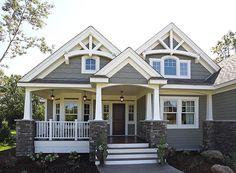Best Ideas house exterior design dream homes craftsman style Design Exterior, Exterior House Colors, Exterior Paint, Gray Exterior, Siding Colors, Exterior Shutters, Gray House Exteriors, Navy Shutters, Bermuda Shutters