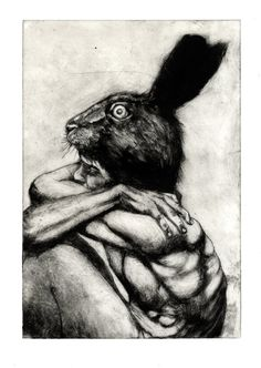 The Hare Intaglio Etching by Ian Crossland Intaglio Printmaking, Drypoint Etching, Rabbit Pictures, Etching Prints, Hare, Dark Art, Art Inspo, Art Drawings, Art Projects