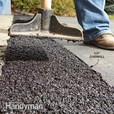 How to Fix a Sinking Driveway: Add additional layers of cold patch to fix the sunken area of driveway. http://www.familyhandyman.com/smart-homeowner/diy-home-improvement/how-to-fix-a-sinking-driveway/view-all