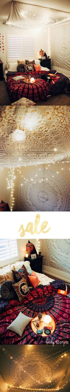 Bedroom Vibes ✨ Silver Gypsy Goddess Tapestry & Twilights by Lady Scorpio | Design by @kaitlynjohnsondesign ☽ ✩ Product by Lady Scorpio | Bohemian Bedroom String Lights Polaroids Boho Bungalow || Save 25% off all orders with code PINTERESTXO at checkout | Shop Now LadyScorpio101.com