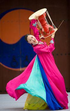 Janggu dance, drum dance in Suwon, South Korea by Derek Winchester