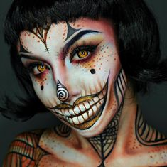 40 Mind-Blowing Halloween Makeup Ideas to Try This Year – Style O Check Amazing Halloween Makeup, Pretty Halloween, Halloween Kostüm, Halloween Face Makeup, Halloween Costumes, Creepy Clown Makeup, Carnival Makeup, Special Makeup, Horror Makeup