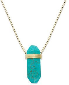 Michael Kors Necklace, Gold-Tone Semi Precious Turquoise Geode Pendant Necklace - Fashion Necklaces - Jewelry & Watches - Macy's