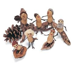 Or a family of peanut pals from things found in the backyard.