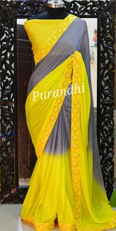 Stunning yellow color designer saree and pink color blouse. Saree with hand embroidery mirror work on boarder. For more details contact on whatsapp : Simple Sarees, Trendy Sarees, Stylish Sarees, Fancy Sarees, Best Blouse Designs, Blouse Neck Designs, Saree Color Combinations, Pink Color Combination, Kalamkari Dresses