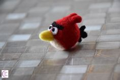 A new felted creature to add to my collection: Red, the Angry Bird! Red Angry Bird, Felting, Creations, Cute, Diy, Felt Fabric, Bricolage, Kawaii, Do It Yourself
