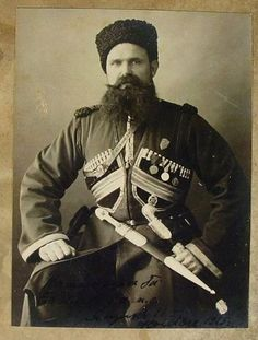 """Timofey Yaschik ~ Cossack bodyguard firstly to Tsar Nicholas ll of Russia,then from 1912 the bodyguard to Dowager Empress Marie Feodorovna of Russia.He stayed with Minny till her death.Photo taken in """"AL"""" Imperial Army, Imperial Russia, Anastasia Romanov, Maria Feodorovna, Russian Revolution, Tsar Nicholas Ii, Lady In Waiting, Men In Uniform, Soviet Union"""
