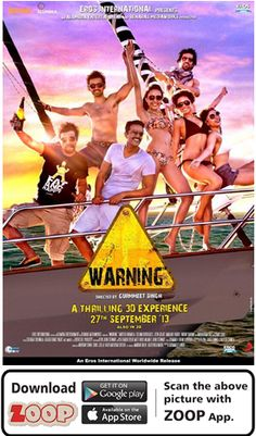 ZOOP Augments Movie 'WARNING (2013)' #Movie #Poster #MoviePoster #Augmented Reality #AR #QR #Scan #WARNING #BOLLYWOOD #ZOOP