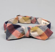 BTN-110 - 4-COLOR GINGHAM DOUBLE-FACED FLANNEL BOW TIE, ORANGE / NAVY / GOLD :: HICKOREE'S