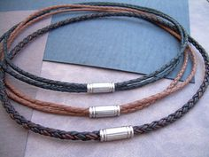 Mens Leather Necklace with Stainless Steel Magnetic Clasp, Mens Jewelry, Mens Necklace, Mens Gift