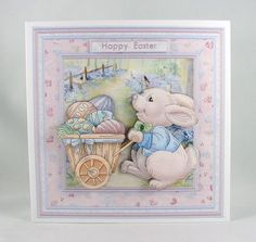 EASTER BUNNY DELIVERY 8x8 Mini Kit Decoupage on Craftsuprint designed by Janet Briggs - made by Carolyn Norris