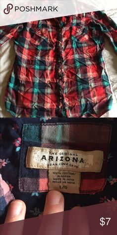 Flannel Sorry for the wrinkles ! Good shape ! Size large AZ flannel , fits medium Arizona Jean Company Tops Button Down Shirts