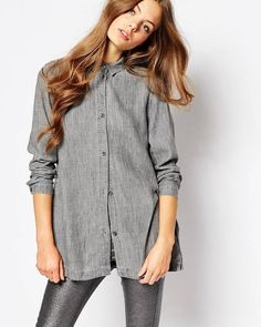 Waven Nott Button Front Linen Mix Denim Shirt - Coolgrey