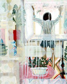 'Niamh enters human world' Acrylic on canvas.