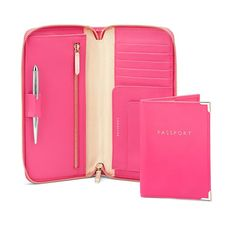 Zipped Travel Wallet with Passport Cover in Smooth Neon Pink from Aspinal of London