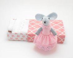 Matchbox doll felt mouse pink by atelierpompadour on Etsy