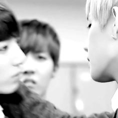Jungkook Taehyung about to kiss and jealous J-Hope in the background