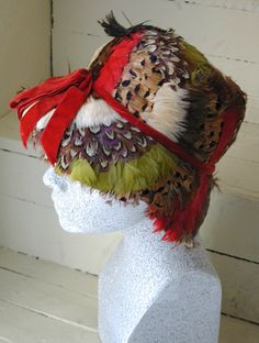 pheasant feather 1960s hat