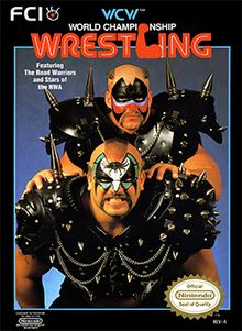WCW - World Championship Wrestling for the Nintendo Entertainment System (NES). The box art features Hawk & Animal -- The Road Warriors. Wrestling Games, Wrestling Videos, Wcw Wrestling, Wrestling Posters, Classic Video Games, Retro Video Games, Retro Games, Vintage Games, World Championship Wrestling