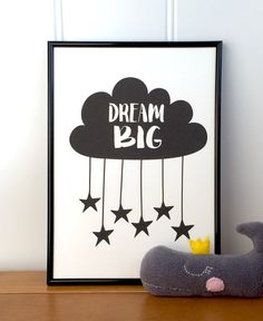 Nursery print Dream big. Monochrome nursery by AliciaCambridge