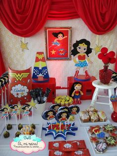 Wonder Woman birthday party! See more party ideas at CatchMyParty.com!: