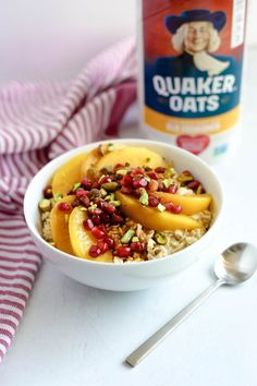 This Peach Pomegranate Oatmeal Bowl is one of my favorite recipes for American Heart Month. Enjoy Quaker Old Fashioned Oats in this easy oatmeal recipe Pickled Cucumbers And Onions, My Favorite Food, Favorite Recipes, Sweet Potato Hummus, Smart Nutrition, Fresh Fruits And Vegetables, Oatmeal Recipes, Rolled Oats, Food Labels