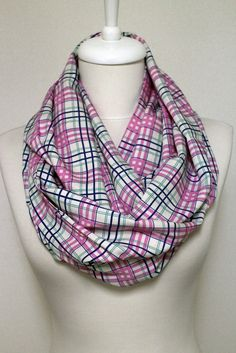 Pink Plaid Cotton Infinity scarf, Tube scarf, Circle scarf, Loop scarf, scarves, spring - fall - winter - summer fashion by Aslidesign on Etsy https://www.etsy.com/listing/222404983/pink-plaid-cotton-infinity-scarf-tube