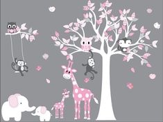 wall Decals Pattern - Nursery Wall Decal Girl Room Wall Decal Children Room Wall Decal Wall Decals Girls Room Jungle Wall Decal Pink and White. Girls Wall Stickers, Nursery Wall Stickers, Kids Wall Decals, Sticker Mural, Vinyl Decals, Baby Girl Nursery Pink And Grey, Gris Rose, Girl Room, Baby Room