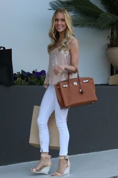 Kristin Cavallari - wedge sandals, beige top with white skinnies and camel bag