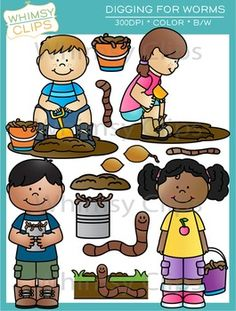 The Digging for worms clip art set is a fun set that includes kids digging for worms and the worm life cycle. This set contains 28 image files, which includes 14 color images and 14 black & white images in png. All images are 300dpi for better scaling and printing.