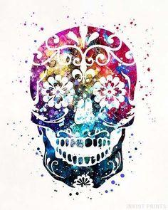 Sugar Skull Watercolor Print. It's Beautiful design even for a tattoo... SLVH ❤❤❤