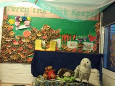 percy the park keeper book corner reception class eyfs foundation stage classroom woodland animal theme