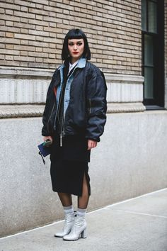Layering Heroes Who've Somehow Cracked The Magical Formula #refinery29  http://www.refinery29.com/winter-layering-tricks#slide-3  A jean jacket can be a great piece to add a little structure to softer puffer jackets....