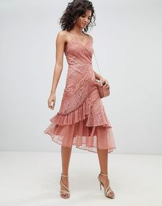 Order ASOS DESIGN Mix & Match Lace & Dobby Cami Dress online today at ASOS for fast delivery, multiple payment options and hassle-free returns (Ts&Cs apply). Get the latest trends with ASOS. Lace Top Outfits, Dress Outfits, Dress Clothes, Casual Clothes, Dress Casual, Chic Outfits, Girl Outfits, Asos, Mix Match
