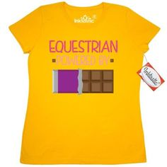 Inktastic Equestrian Funny Gift Women's T-Shirt Horseback Riding Hobby Humor Powered By Chocolate Horses Hobbies Clothing Apparel Tees Adult Hws, Size: Large, Gold