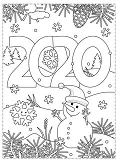 Happy New Year 2020 Coloring Activity Pack Happy New Year 2020 Coloring Activity Pack - New Year Coloring Pages, Unicorn Coloring Pages, Doodle Coloring, Colouring Pages, Adult Coloring Pages, Winter Crafts For Kids, Winter Kids, Winter Art, Diy Crafts To Do